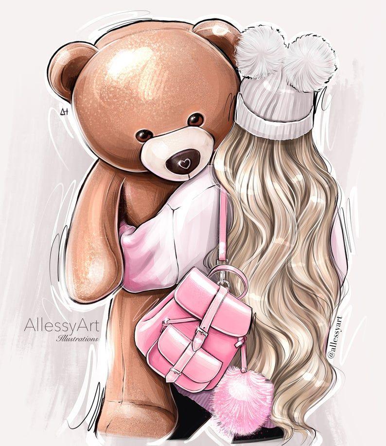 Instant Download Fashion Illustration Blonde Girl Teddy Bear Love Dessin Mignon De Fille Dessin De Jolie Fille Filles De Bande Dessinee