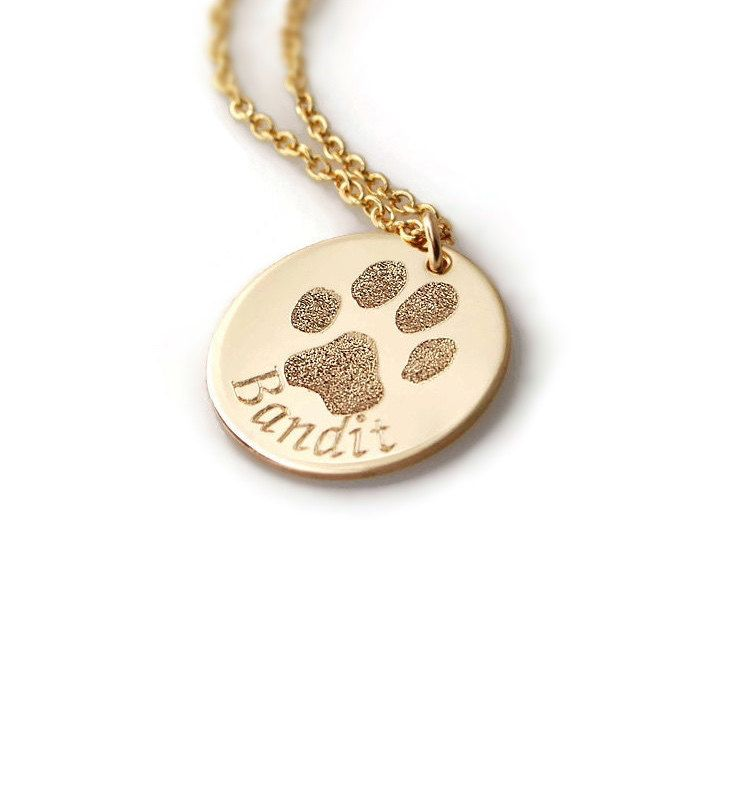 Actual pet paw or nose print personalized pendant necklace