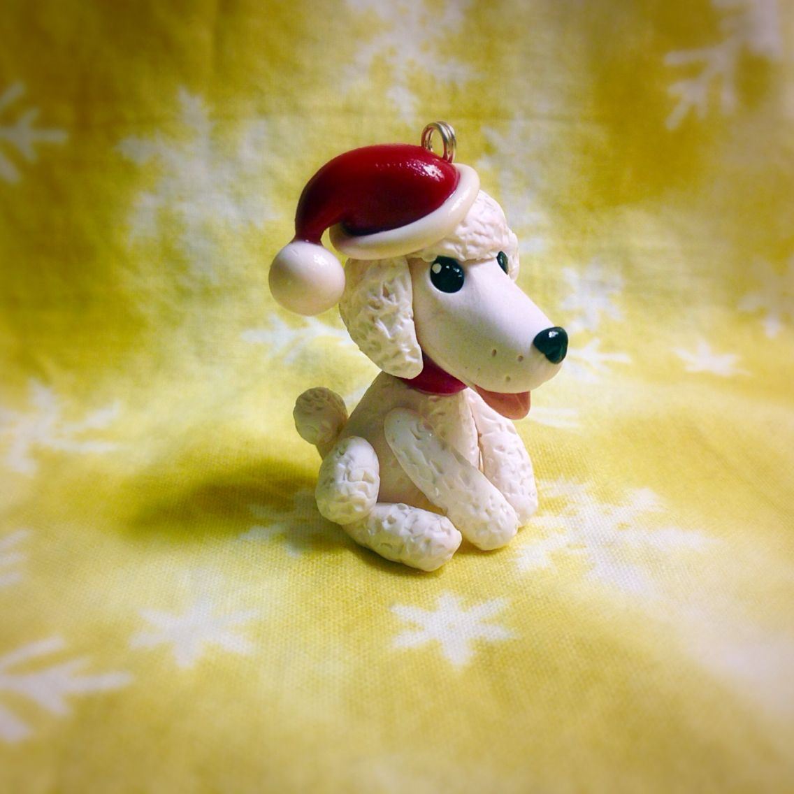 Christmas Ornament White Poodle Poodle Ornament Polymer Clay