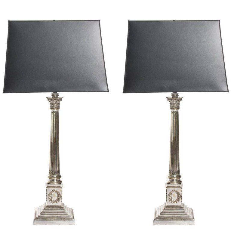 1930s Pair Of Silver Corinthian Column Lamps 1 33 In Hx8 In Wx8 In D Lamp Corinthian Column Corinthian