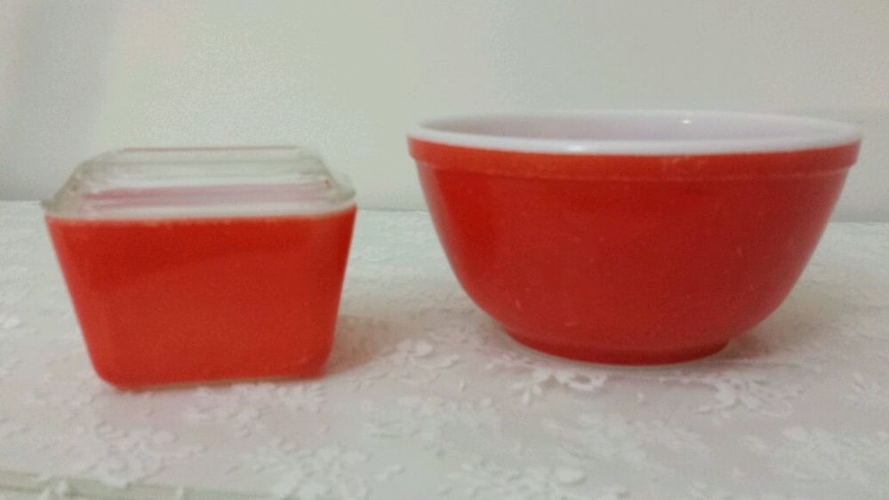 Vintage PYREX Set of 3! Red MIXING Bowl (Not Numbered) and ...