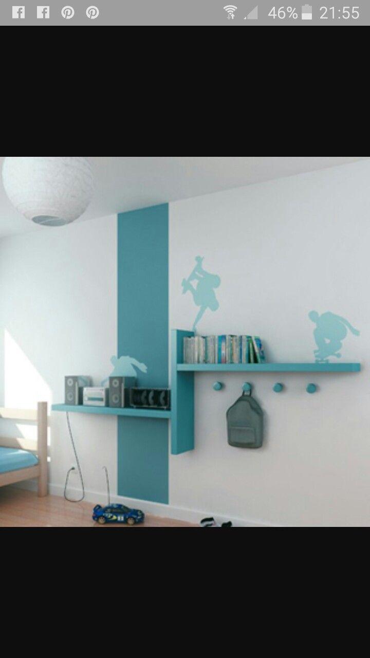Étagères chambre bleue turquoise  Deco chambre, Chambre enfant