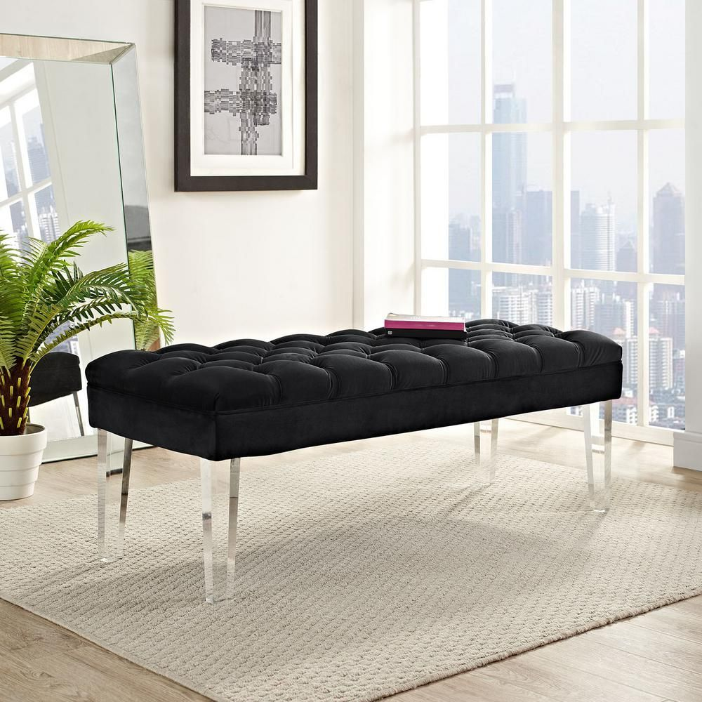 Swell Modway Valet Black Velvet Bench Products Upholstered Beatyapartments Chair Design Images Beatyapartmentscom