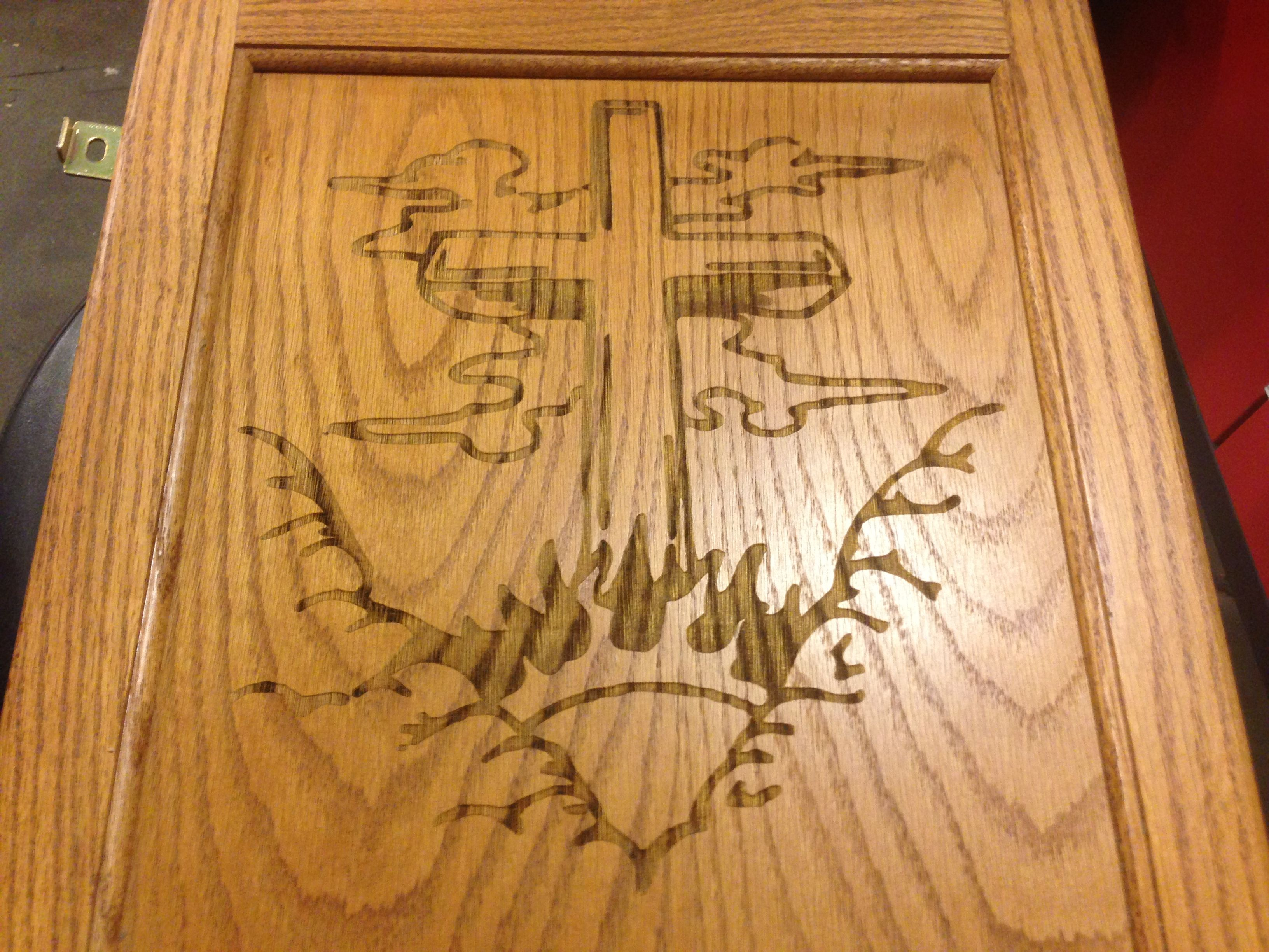 laser engraved on wood cabinet door