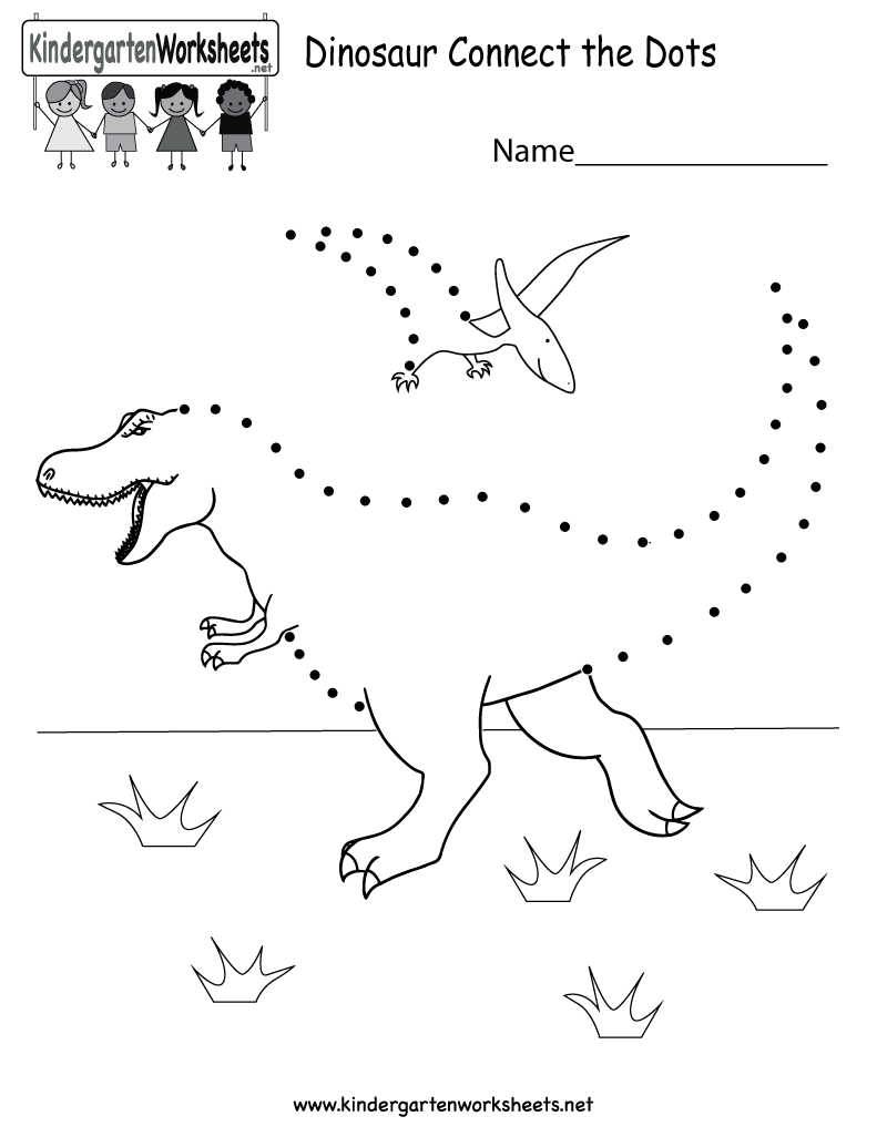 Dinosaur connectthedots worksheet After connecting all of the – Connect the Dots Worksheets for Kindergarten