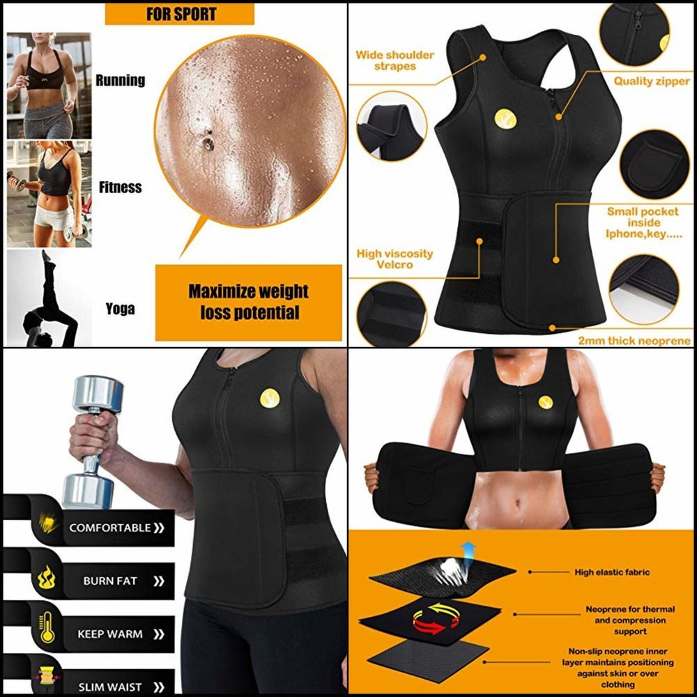8afb7d0efe5 Women Sauna Waist Trainer Vest Weight Loss Neoprene Tank Top Body Shaper  Cincher  Junlan  Doesnotapply