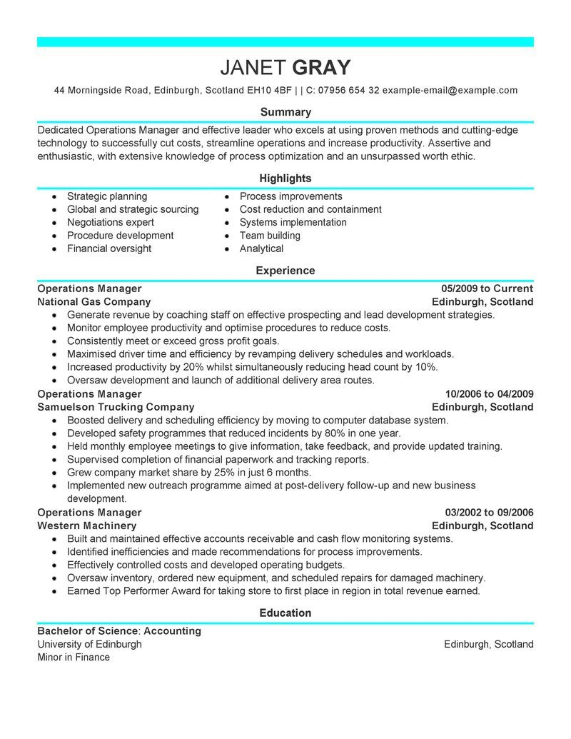 Big Operations Manager Example - Modern 6 Design   Resume Design and ...