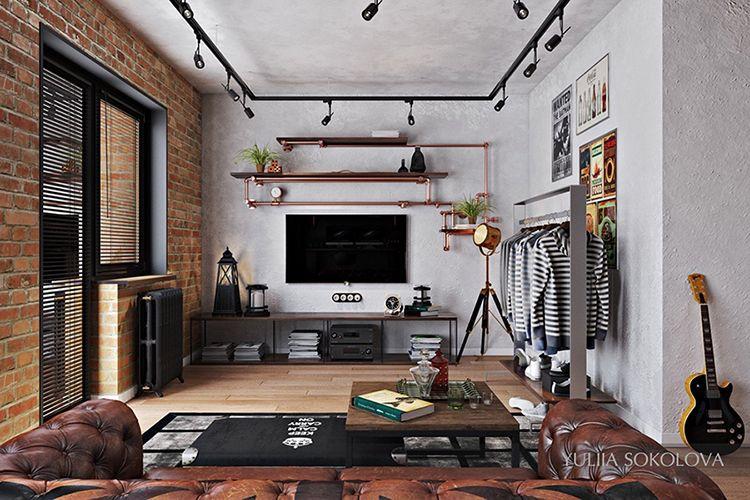 Loft Em Estilo Industrial, Parede De Tijolo Aparente, Estantes De Tubulação  De Metal,piso Madeira, Trilhos De Iluminação.