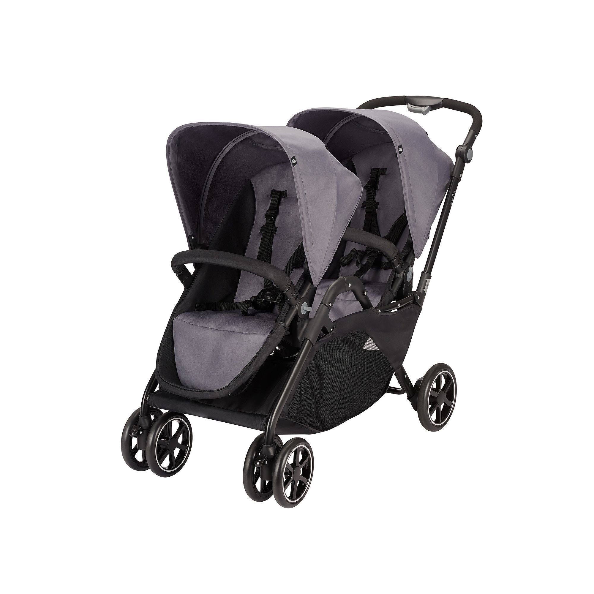 evenflo parallel tandem double stroller grey  double strollers  - evenflo parallel tandem double stroller grey
