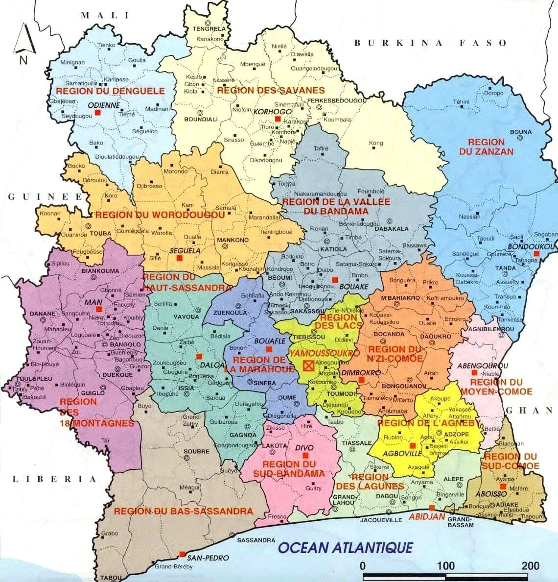 Carte Administrative De Cote D Ivoire Carte Ivoire Cote D Ivoire