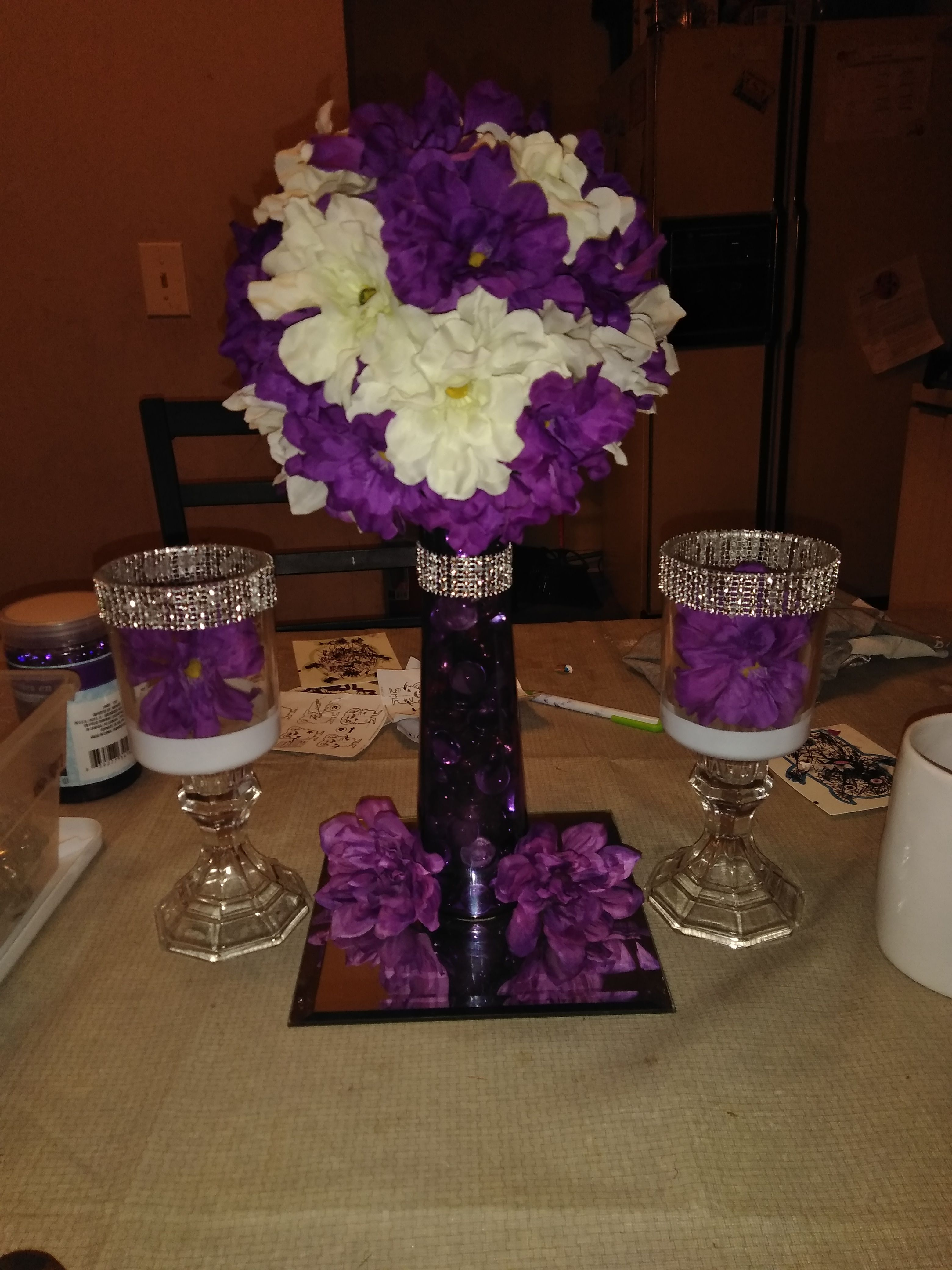 Pin By Crystal Ford On Centerpieces Purple Wedding Centerpieces