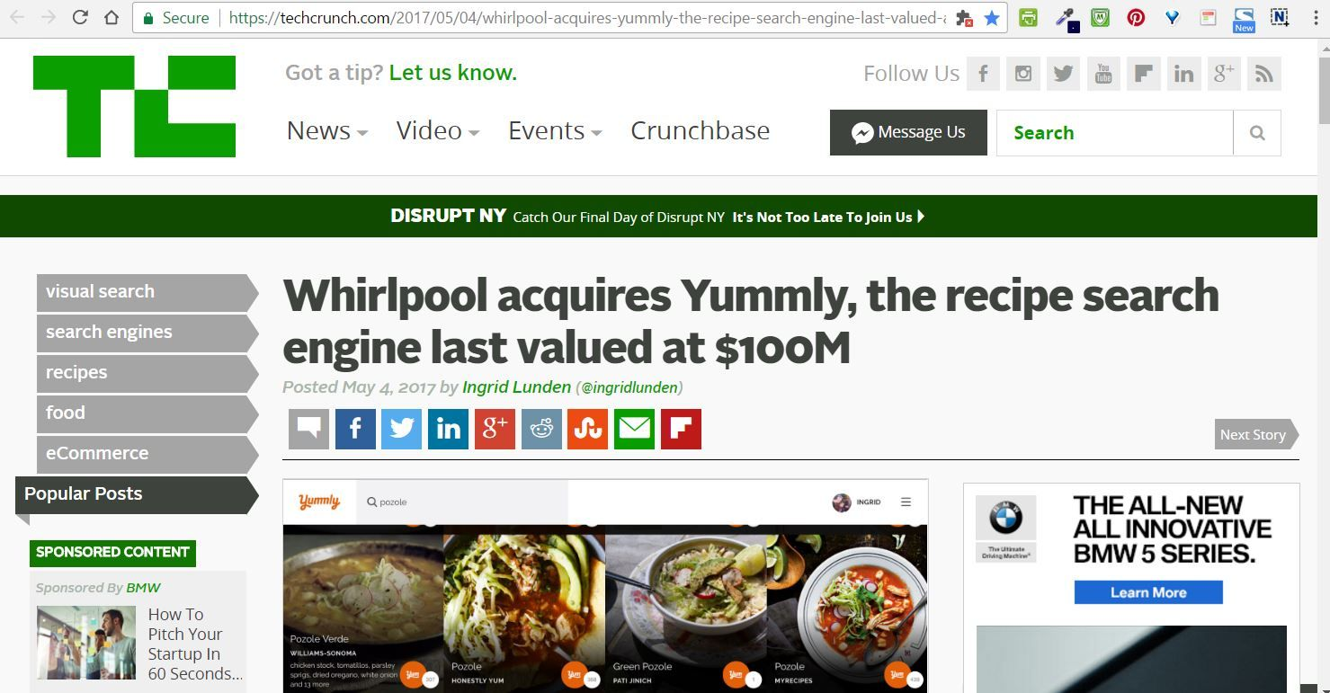 Whirlpool acquires yummly the recipe search engine last valued at whirlpool acquires redwood city yummly the recipe search engine last valued at 100m techcrunch may 2017 forumfinder Gallery