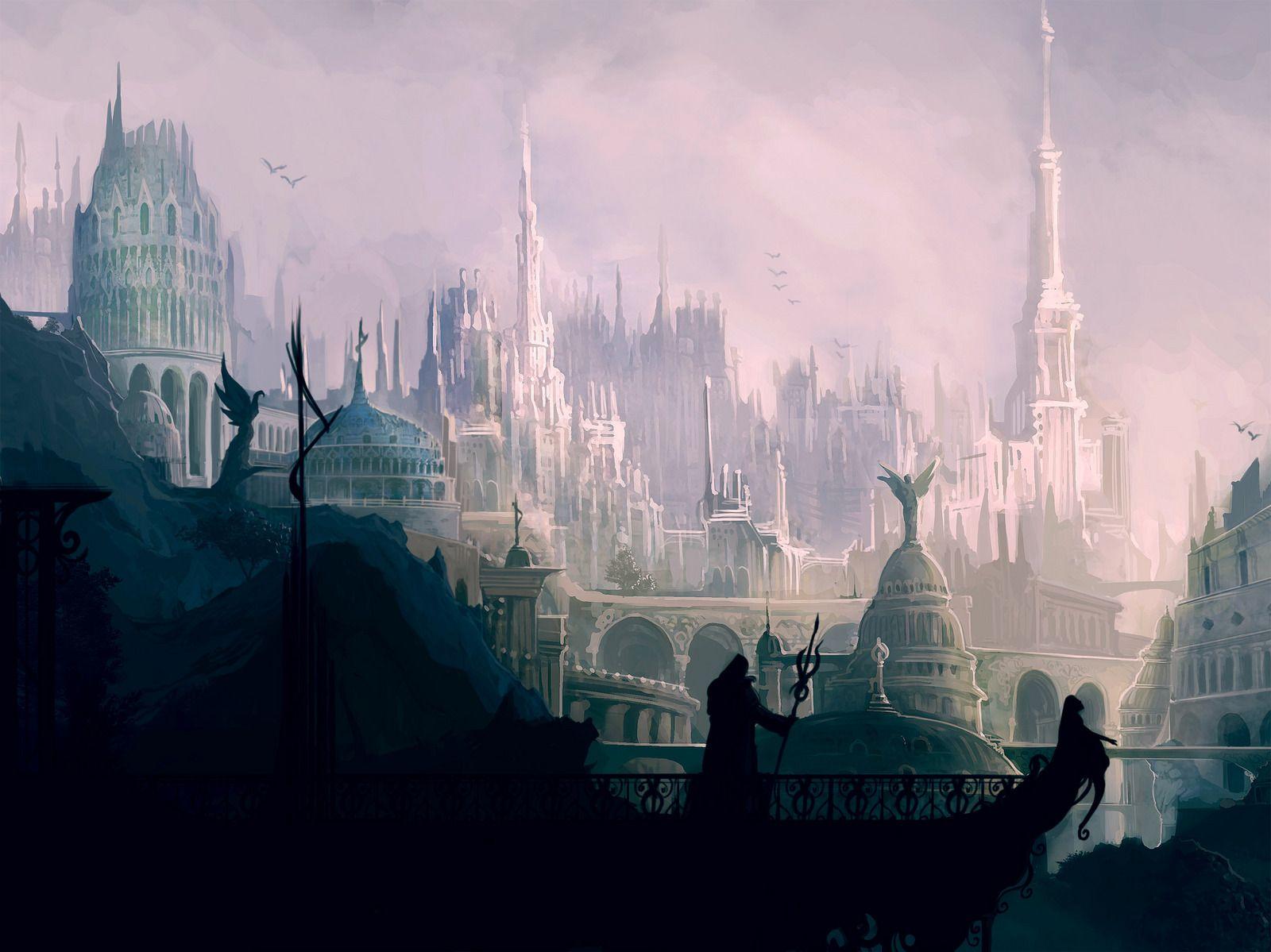 Metropolis Valariana 2d Landscape Fantasy City Concept Art