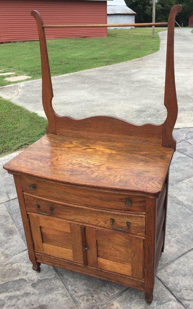 Antique Oak Wash Stand With Towel Bar Dry Sink Dresser