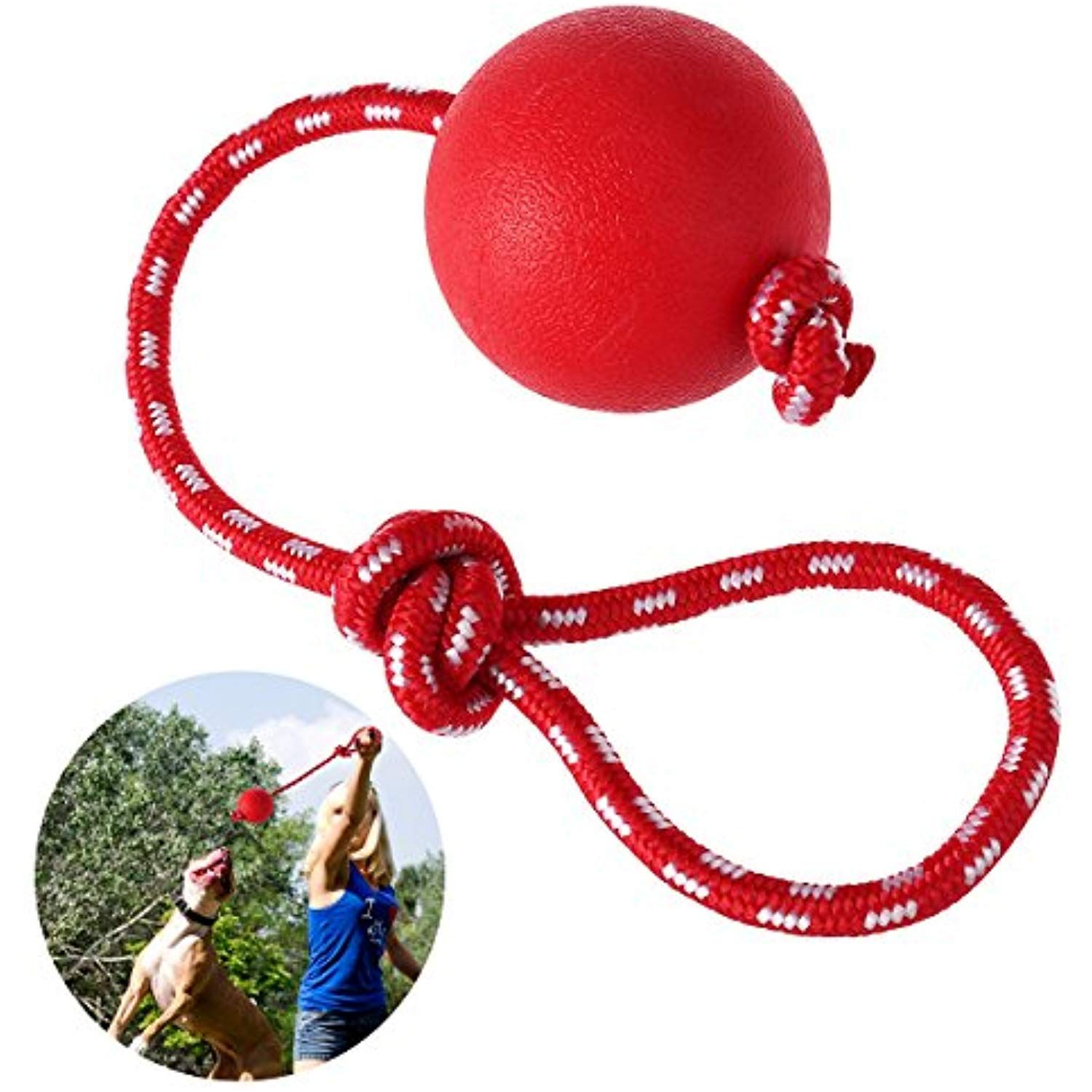 Ueetek Pet Rubber Chew Toy Ball With Rope Dog Interactive Ball