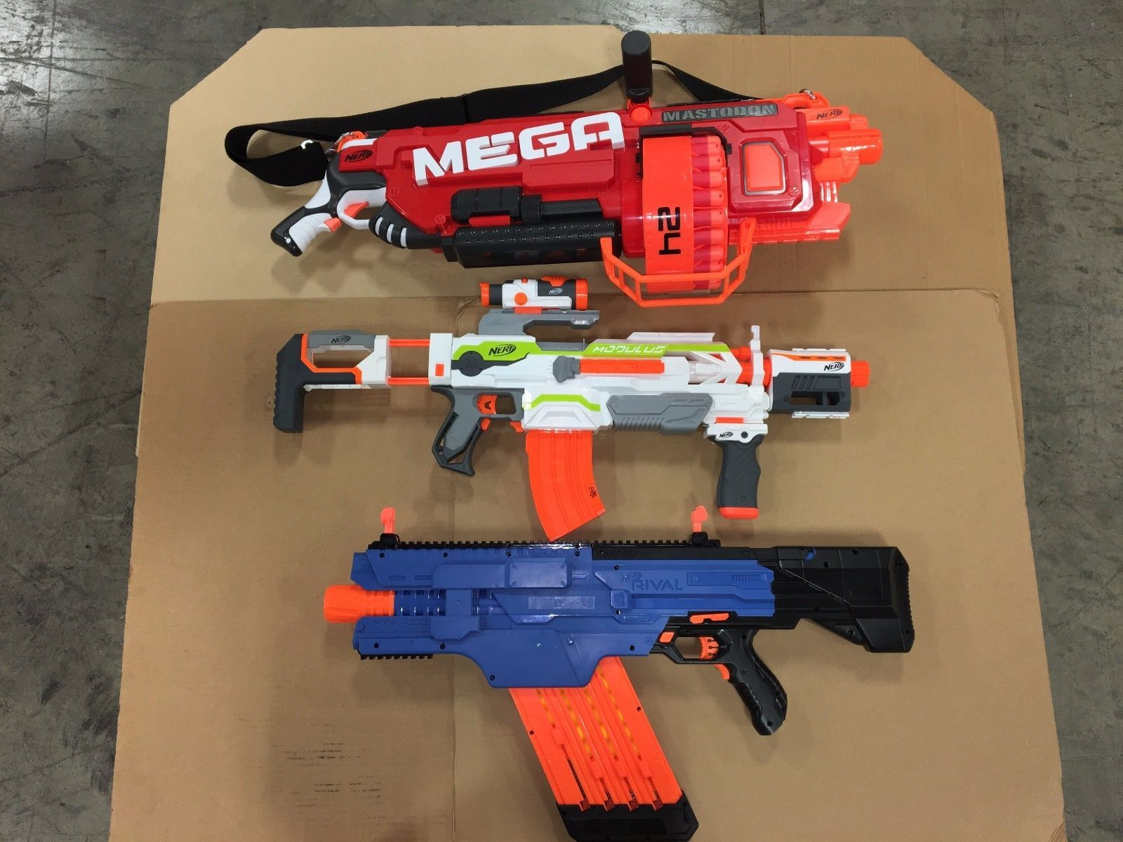 Nerf MEGA MASTODON BLASTER RIVAL KHAOS BLASTER Modulus ECS-10 Blaster Combo!