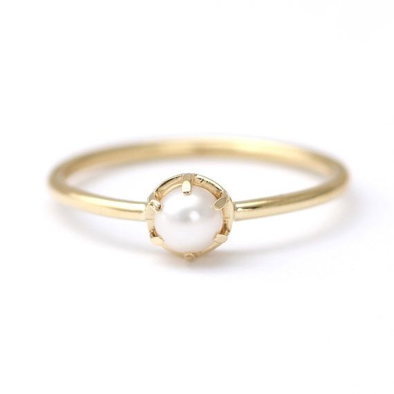 Gold Pearl Ring White Pearl Ring Pearl Engagement Ring 18k