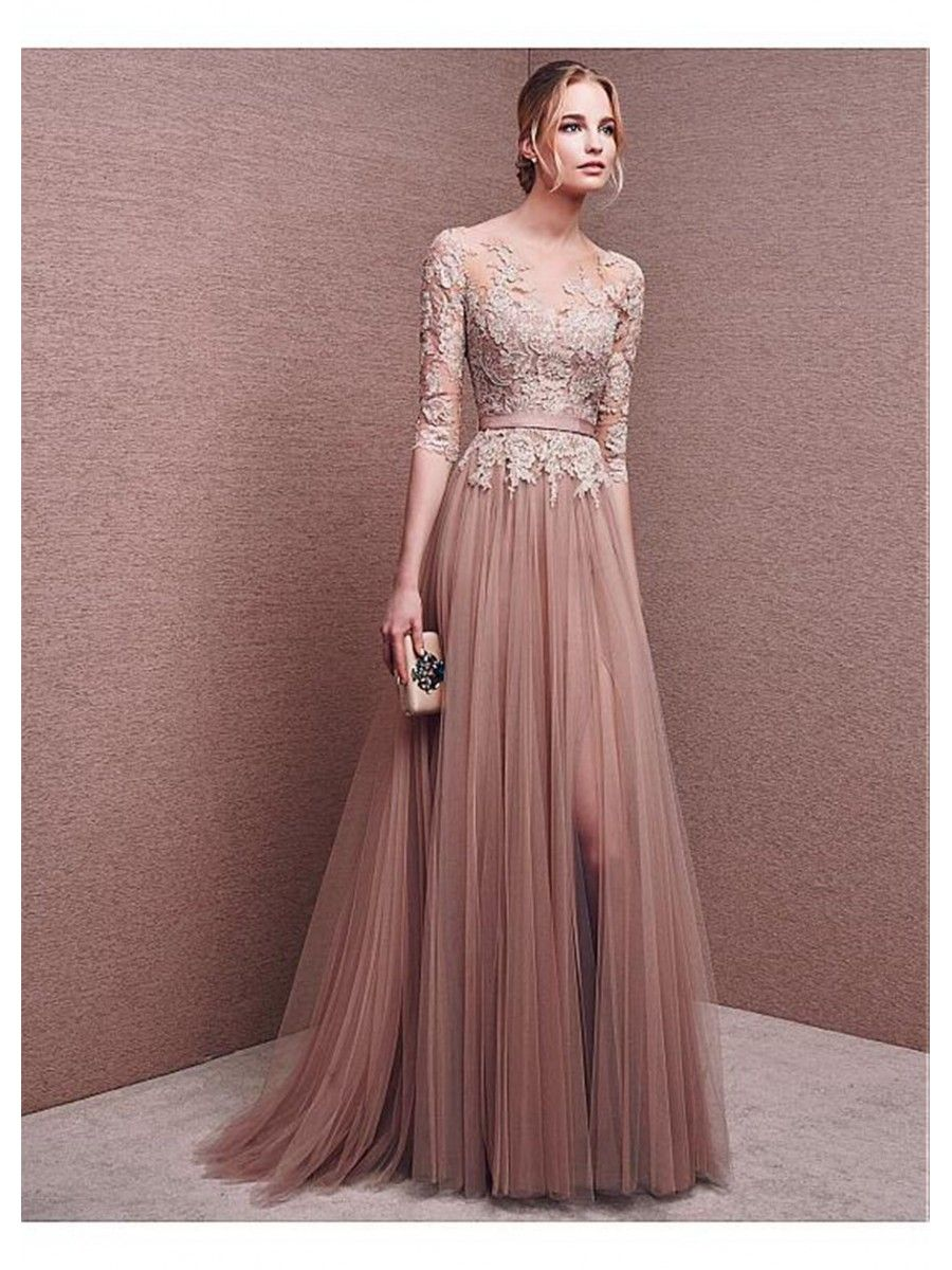 A-Line 3 4 Length Sleeves Lace Tulle Long Prom Formal Evening Dresses  99501008 67f40418eebe
