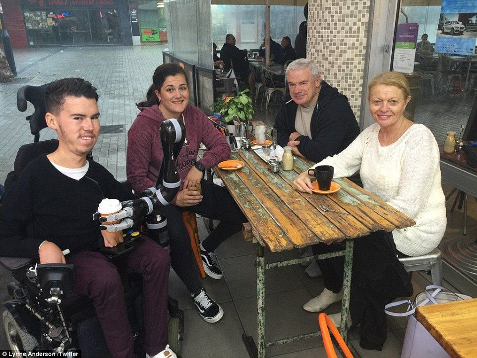 Michel and McClure enjoy a coffee with CEO of the Australian Paralympic Committee Lynne Anderson (right) ahead of the Games