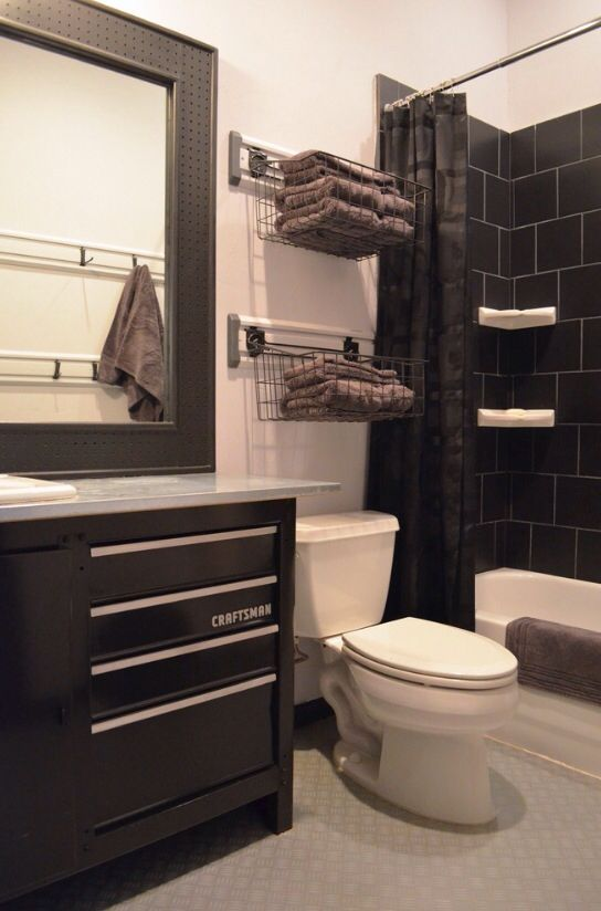 Industrial Boys Bathroom Craftsman Toolbox Built Into The One Of A Kind Vanity Peg Board Surrounds Mirror Man Bathroom Mens Bathroom Decor Garage Bathroom