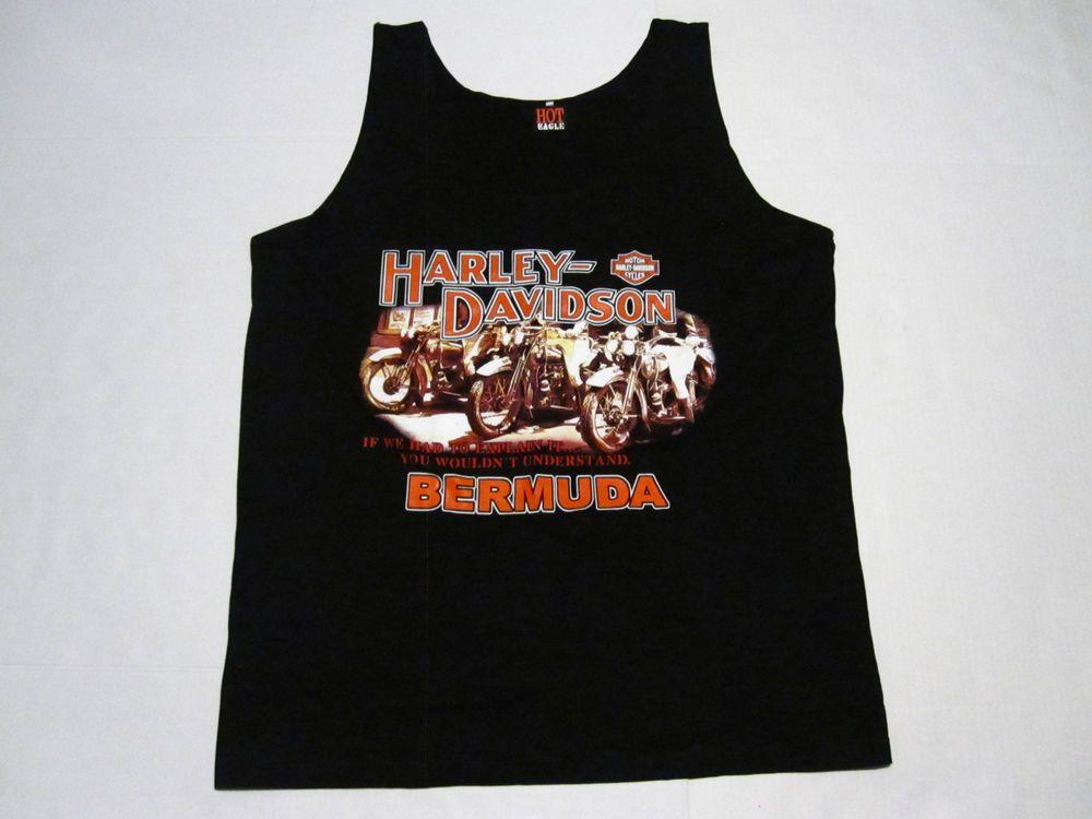 Harley Davidson Motorcycle Bermuda Mens Tank Top Black Size 2xl Ebay Mens Shirts Shirts Mens Tops