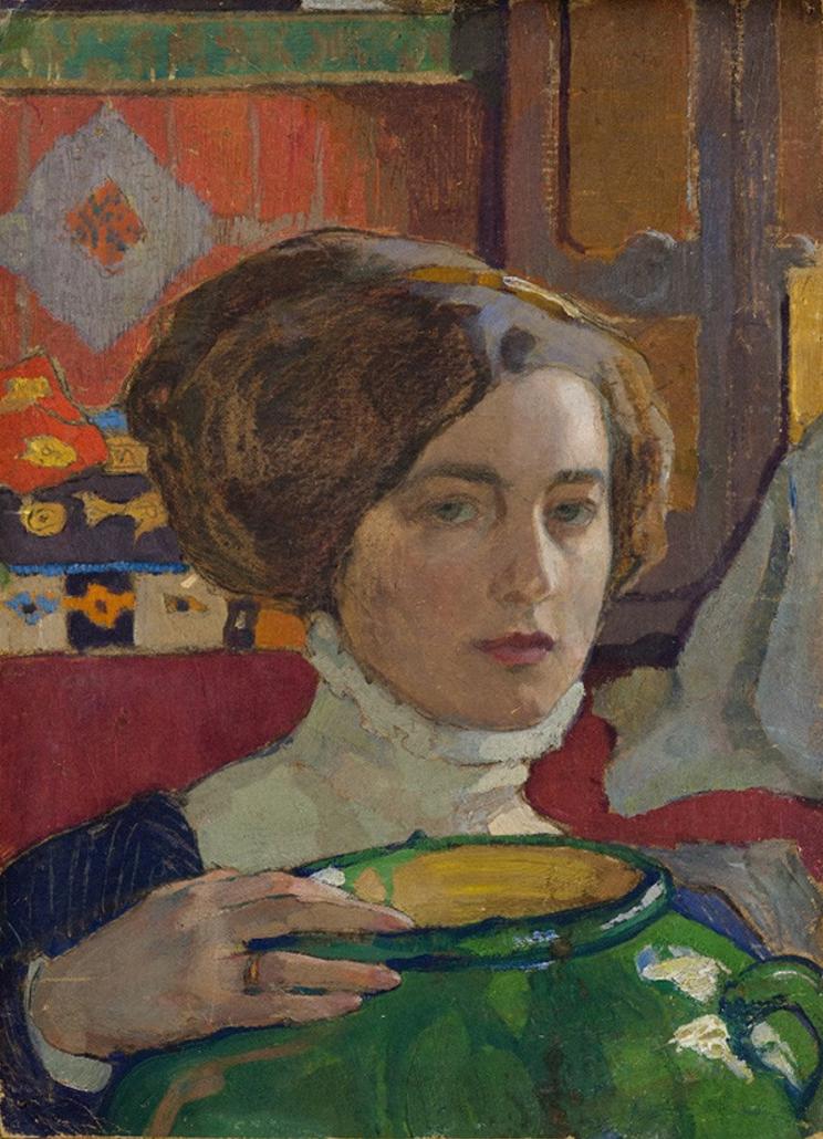Elena Kiseleva (1878-1974, Russian), 1910, Self-portrait, Artist with a green vase (Художница с зелёной вазой), Oil on canvas, 49 x 35 cm. Collection Voronezh Regional Art Museum