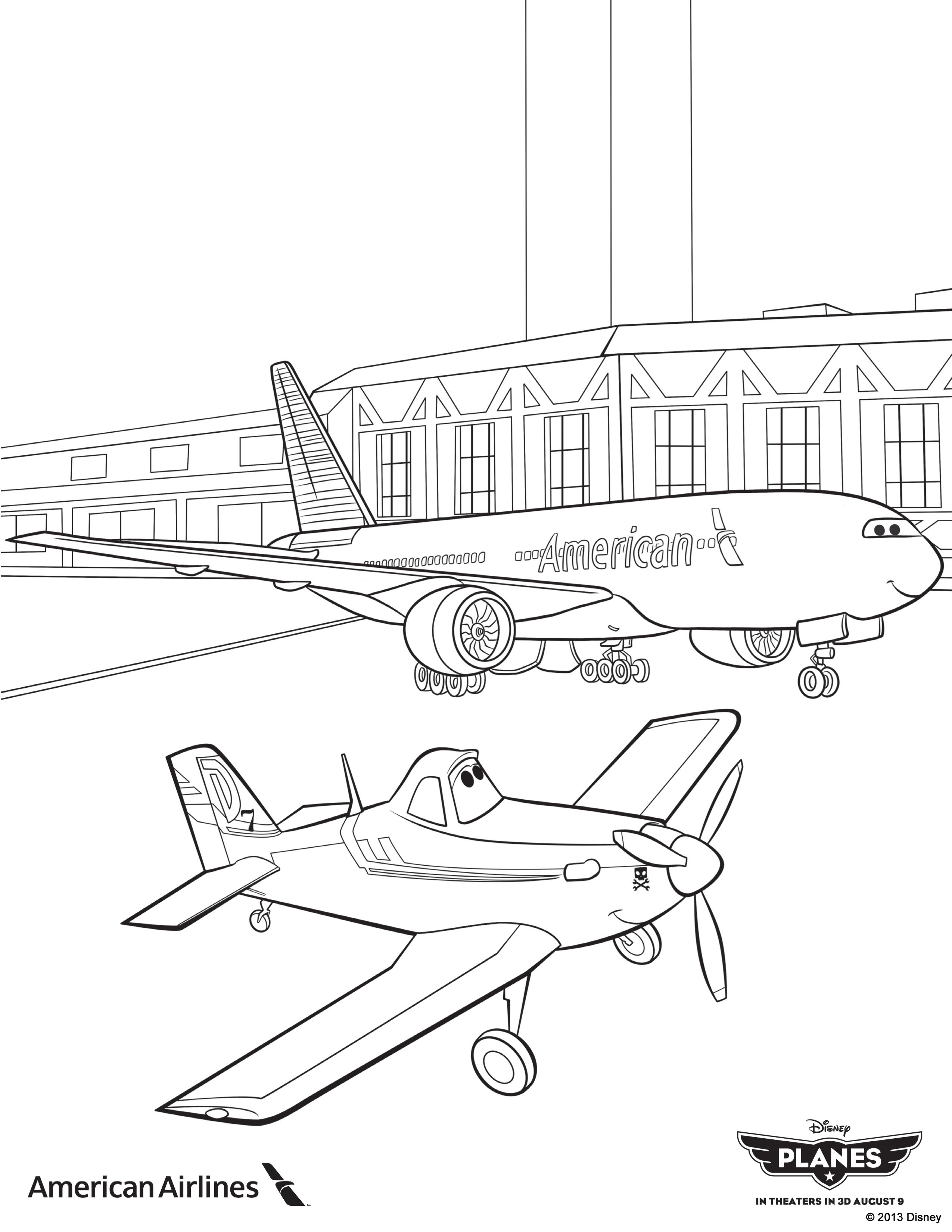 Planes Coloring Sheet From American Airlines My Kids L A
