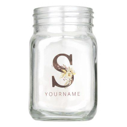 Floral Monogram S Rich Autumn Foliage Mason Jar | Zazzle.com #autumnfoliage