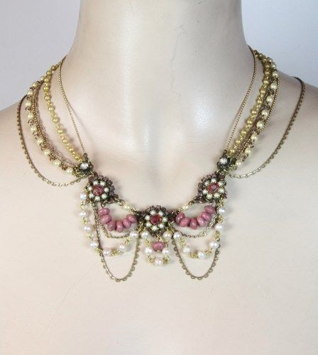 Bridal Necklace Victorian Wedding Jewelry Hand Beaded