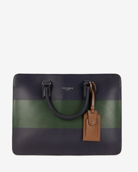 Striped Leather Doent Bag Navy Bags Ted Baker Uk