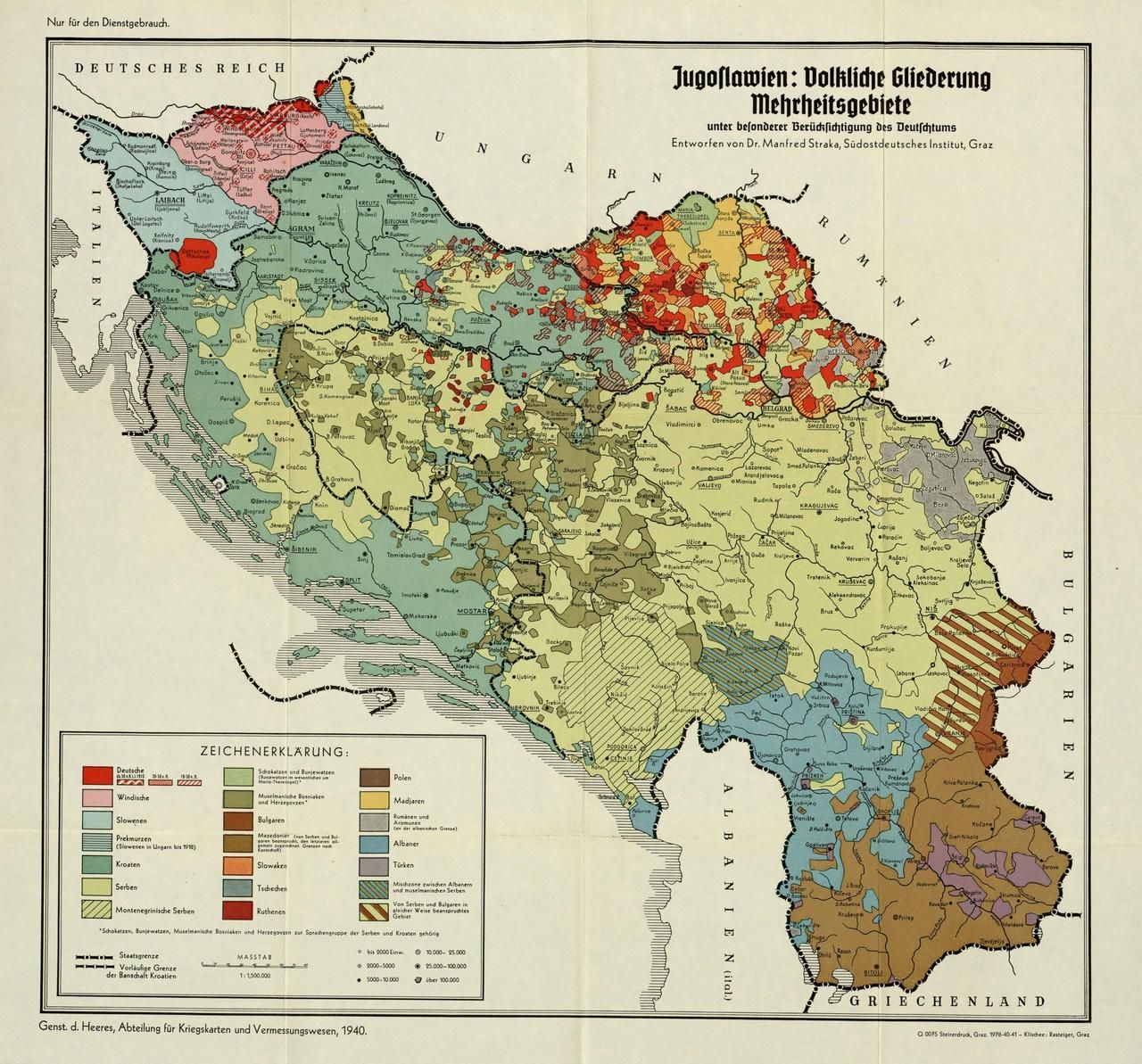 Vor der ethnischen Säuberung durch serbische Völkermörder -- Ethnic map of Yugoslavia made by Nazi Germany in 1940 #map #ww3 #yugoslavia