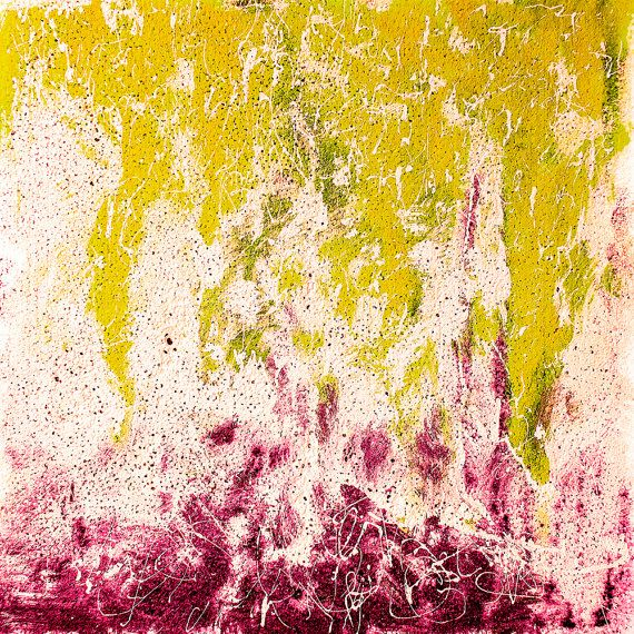 CANVAS PRINT Square abstract wall art Yellow White Pink Purple ...