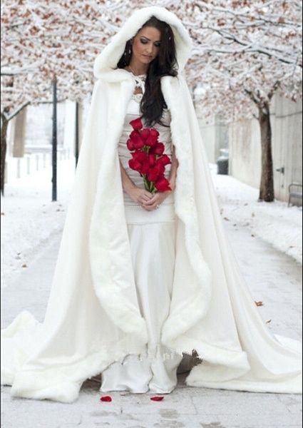 Luxus weiß Elfenbein Kunstpelz Braut Mantel lange Jacke Wrap Bolero Coat Schal benutzerdefinierte Plus Größe | Wunsch   – Just A Formality