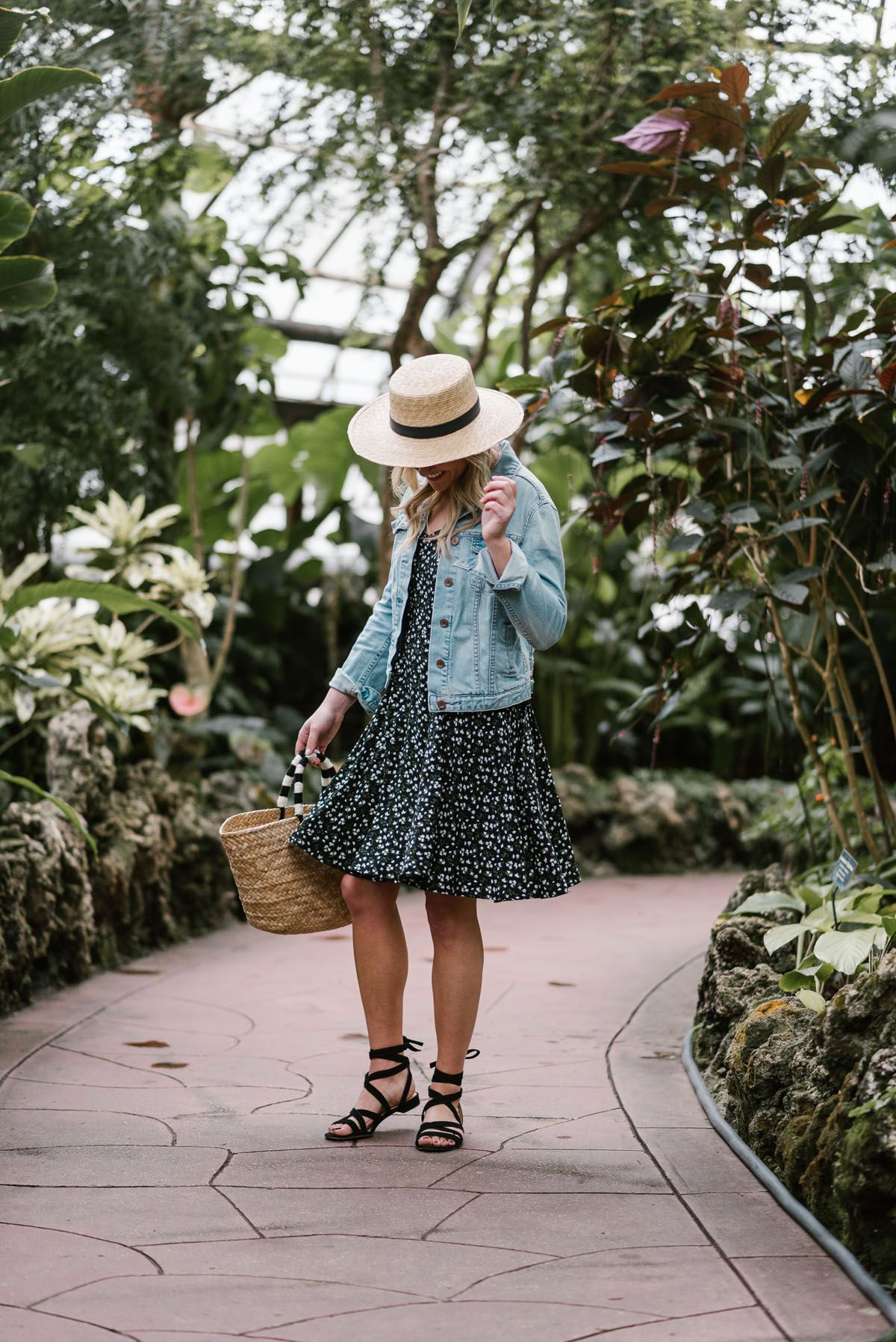 Spring Outfit Floral Dress Denim Jacket Bows Sequins Denim Jacket With Dress Outfit Inspiration Spring Spring Outfit [ 1797 x 1200 Pixel ]