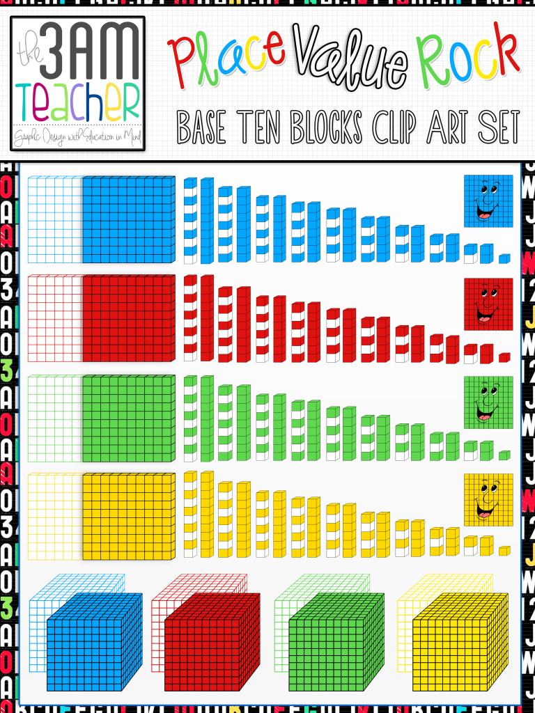 Place Value and Extras Clip Art Bundle: Over 160 Graphics   Base ten blocks [ 1024 x 768 Pixel ]