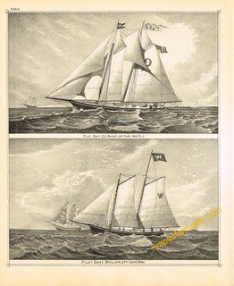 Antique-Map-Cape-May-N.J.-2-Pilot-Boat-Engravings Maps of Antiquity Print Seasonal Decorating