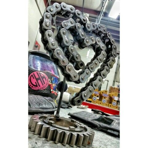 Chained love pro stock motorcycle chain metal art cold hard
