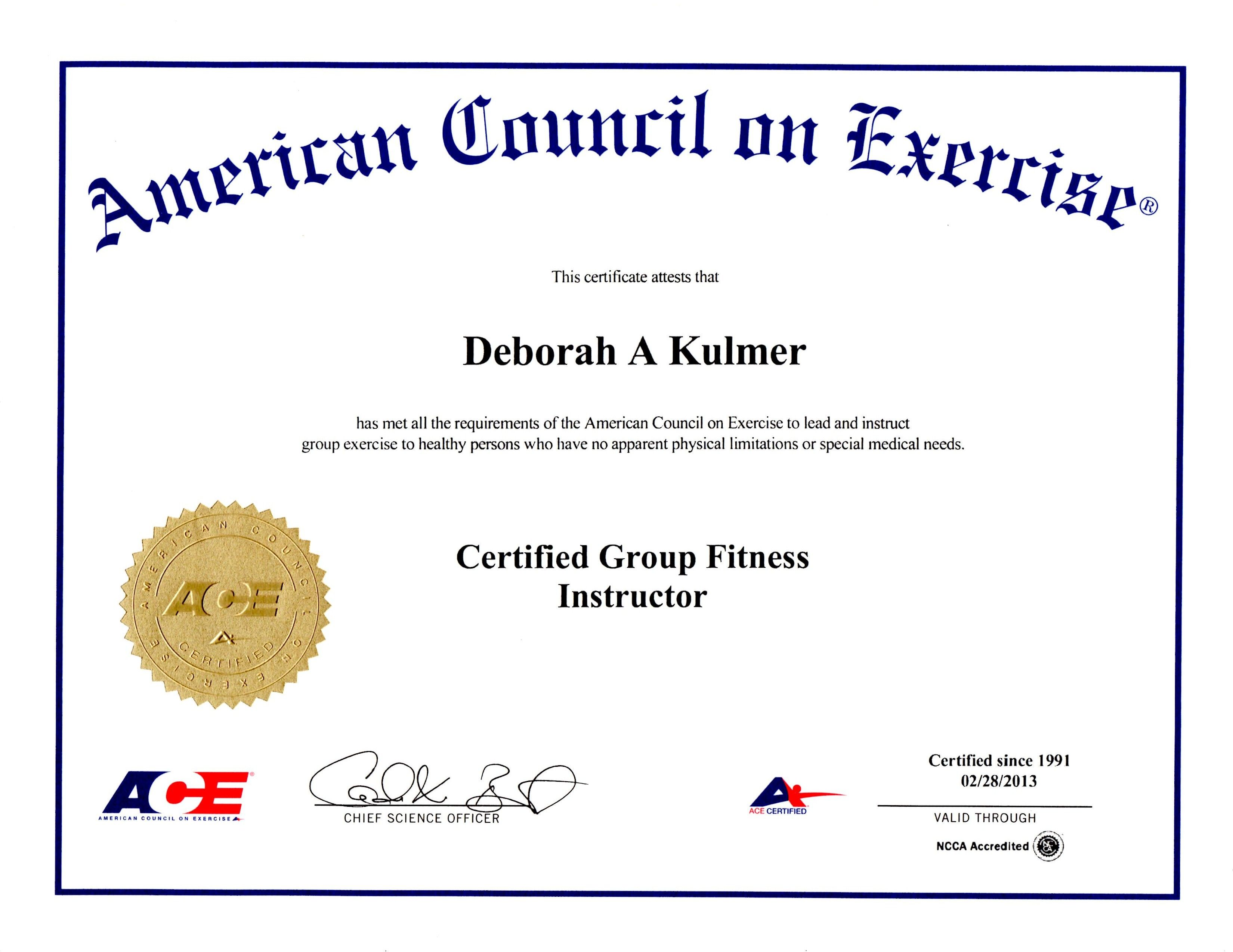 fitness instructor certificate exercise training american council aerobics bricks