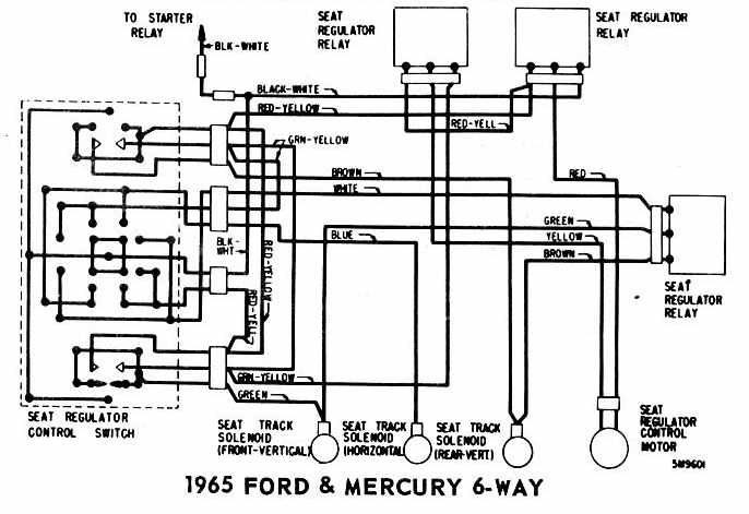 power seat wiring diagram of 1965 ford and mercury 4 way