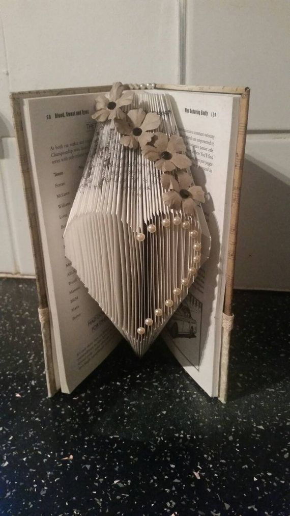 Book folded small heart... Bookfolding book sculpture love with customised covers
