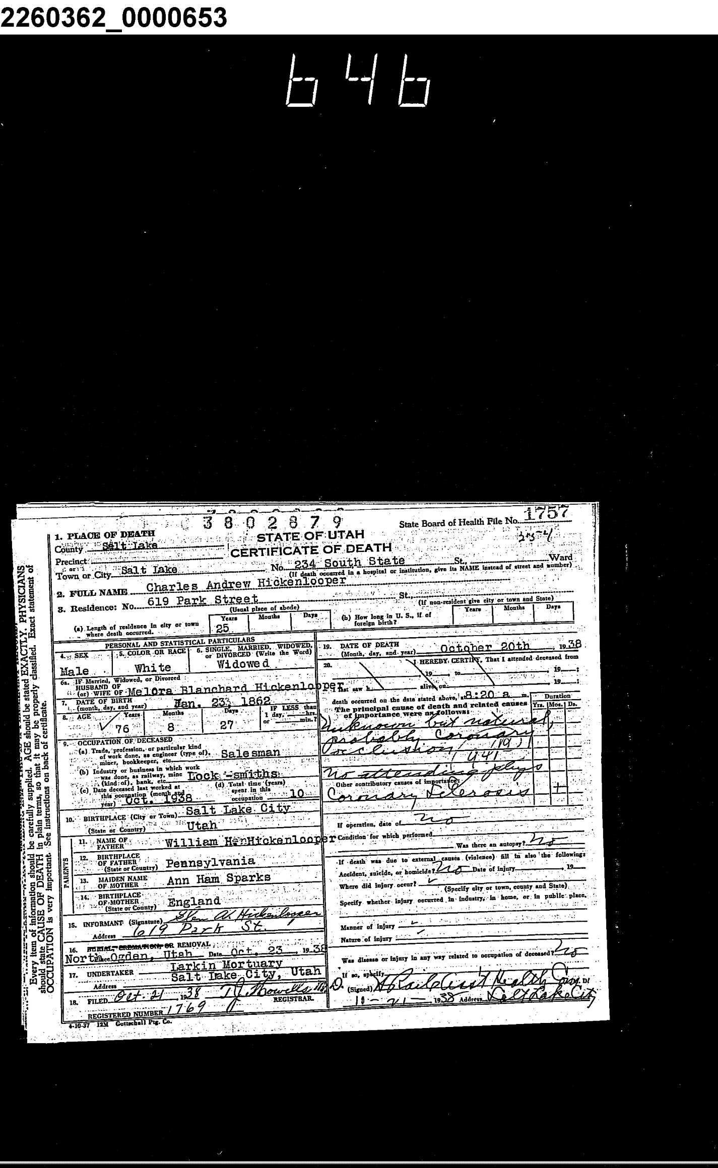 Charles Andrew Hickenlooper, Utah Death Certificates, 1904-1956 ...