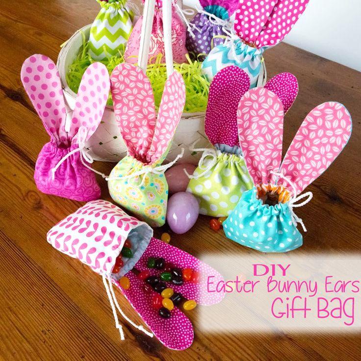 Diy Easter Bunny Ears Gift Bag Kid Craft Homemade