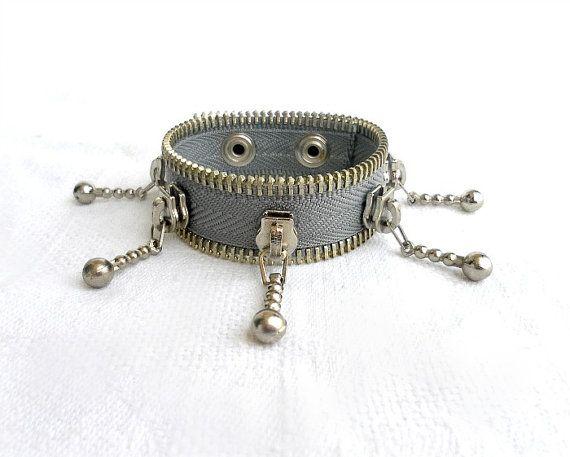 Bracelet zipper design  unique and eccentric gray  by ZipperDesign, $29.90