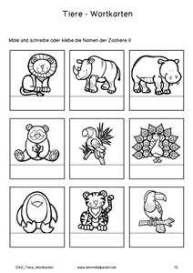 daz wort und aufgabenkarten tiere tiere volksschule lehrmittel und deutsch lernen. Black Bedroom Furniture Sets. Home Design Ideas