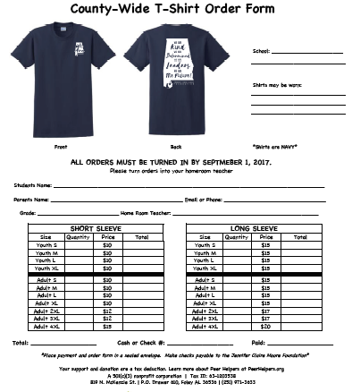 TShirt Order Form For School  TShirt Order Forms