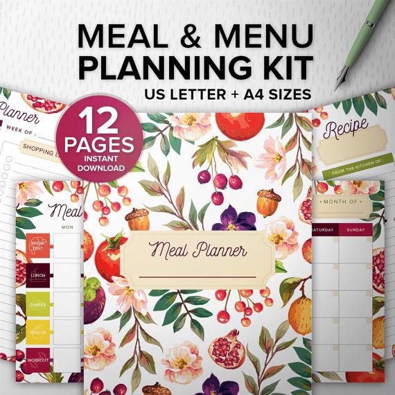 Meal and Menu Planning Kit 12 pages PDF - Printable meal planner - A4/Letter, Desk Manager INSTANT DOWNLOAD