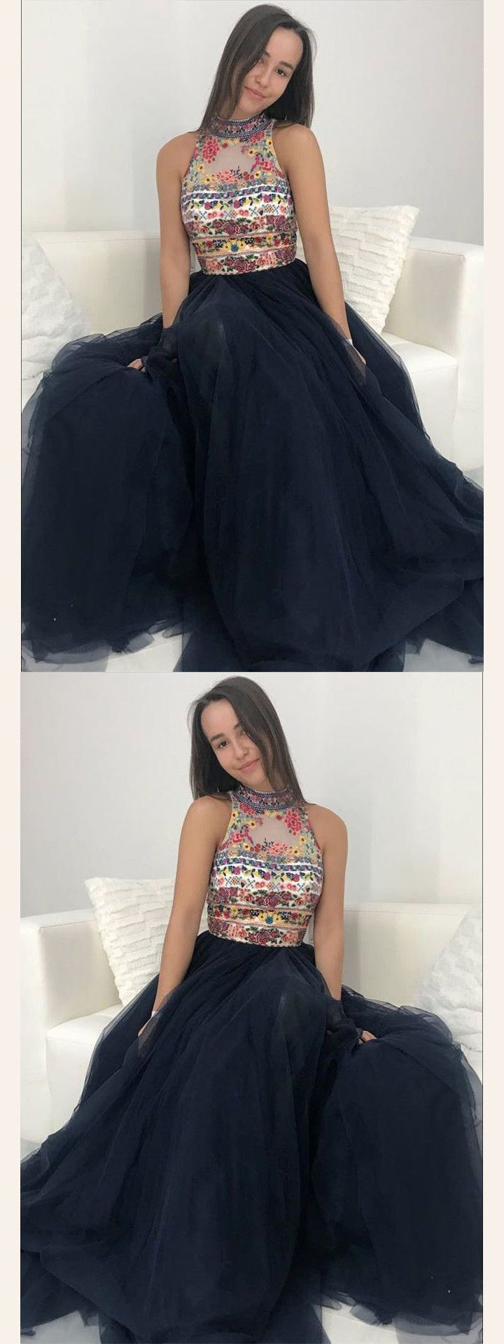Dark navy prom dress a line high neck floral beaded long prom