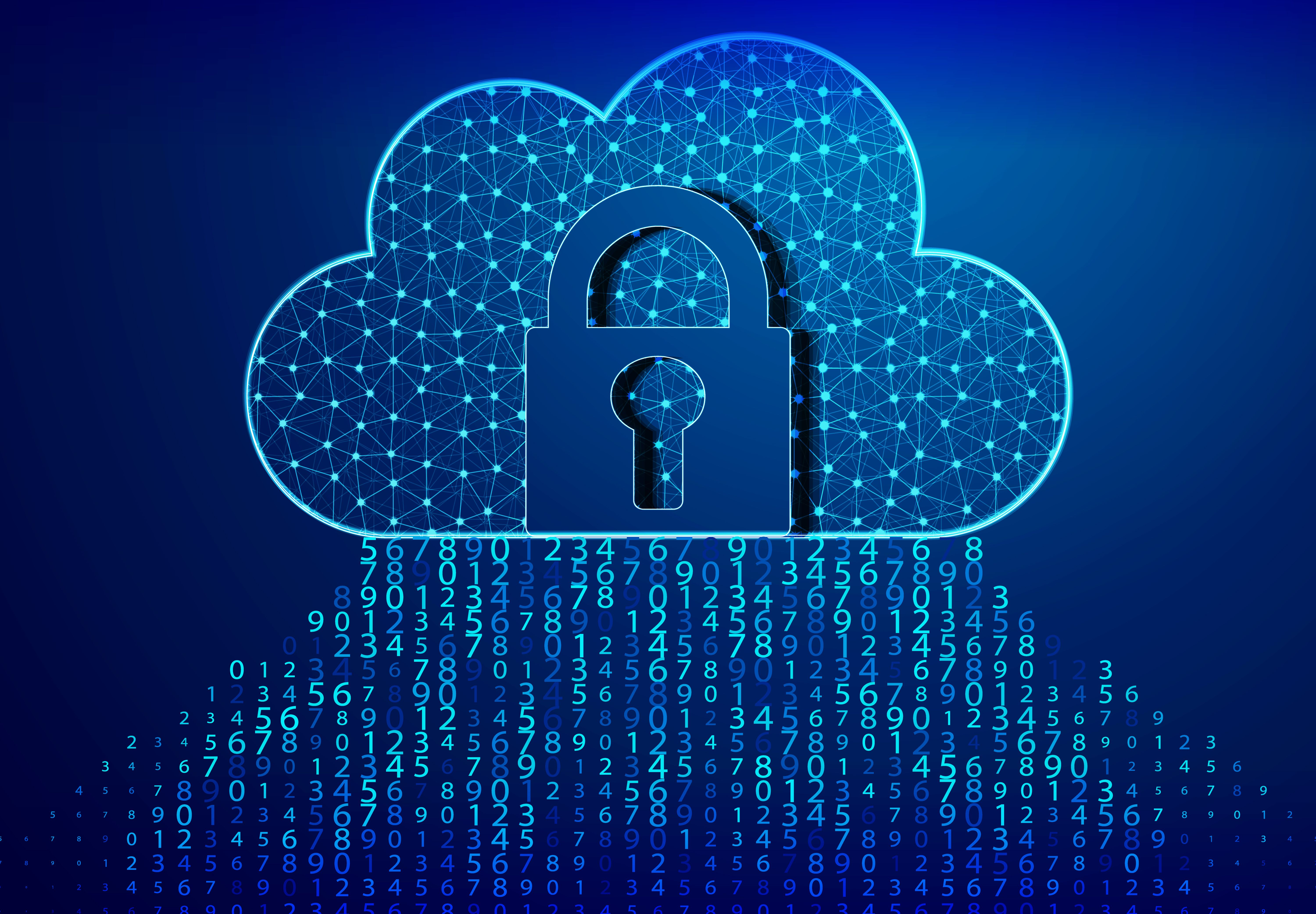 Lock, Padlock, and cloud computing code. Blue bytes of