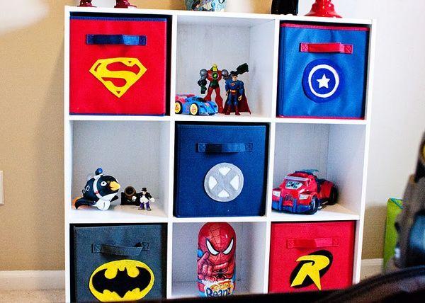 Superhero Bins How Awesome Use Decals On Ikea Bins Superhero Room Marvel Bedroom Superhero Bedroom