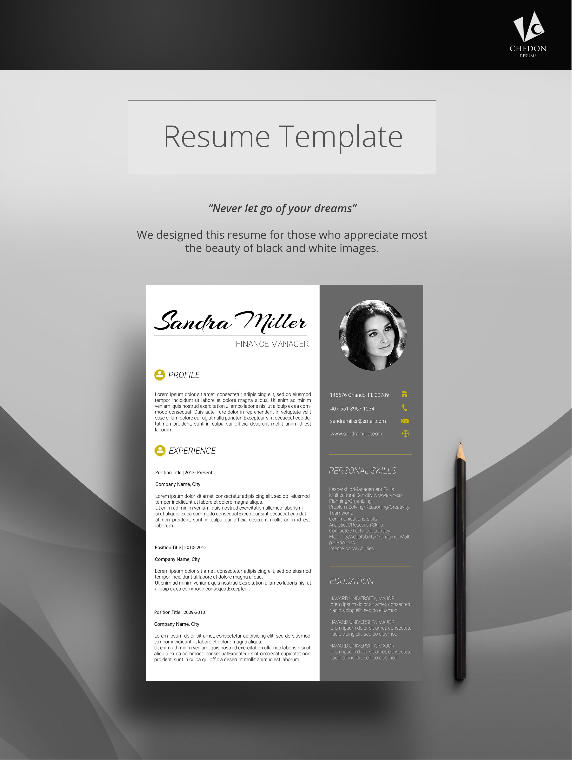 LUX RESUME Looking for a simple black and white resume design? Check ...